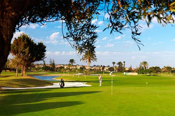 Jugador hoyo 6 campo de golf