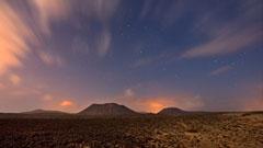Vista de atardecer en el desierto de Fuerteventura
