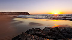 Vista atardecer en la playa