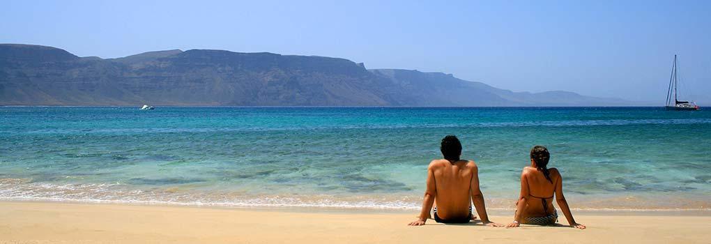 Vista de la playa en Playa Blanca