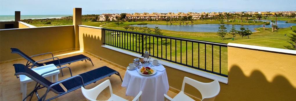 The golf course from the terrace at the Elba Costa Ballena