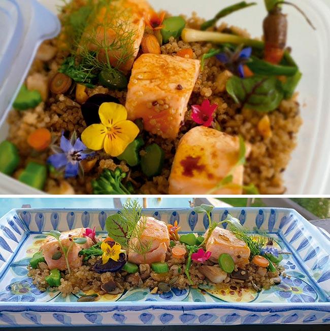TACOS DE SALMÓN sobre quinoa roja y blanca, tallos de midi, portobellos y vinagreta de frutos secos.